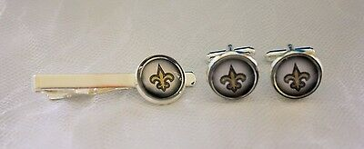 New Orleans Saints Cufflinks - New Orleans Saints Cufflinks & Tie Clip Set made from Football Trading Cards