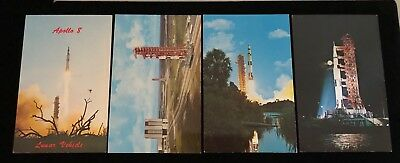 APOLLO @ LAUNCH PAD 4  8 16 & 17 / SATURN ORIGINAL ERA 4 PIECE POSTCARD LOT - Launch 4 Piece