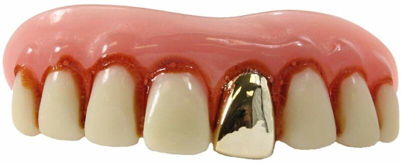 Billy-Bob Front Gold Tooth Full Grill Fake Veneer Funny Teeth Custom Fit