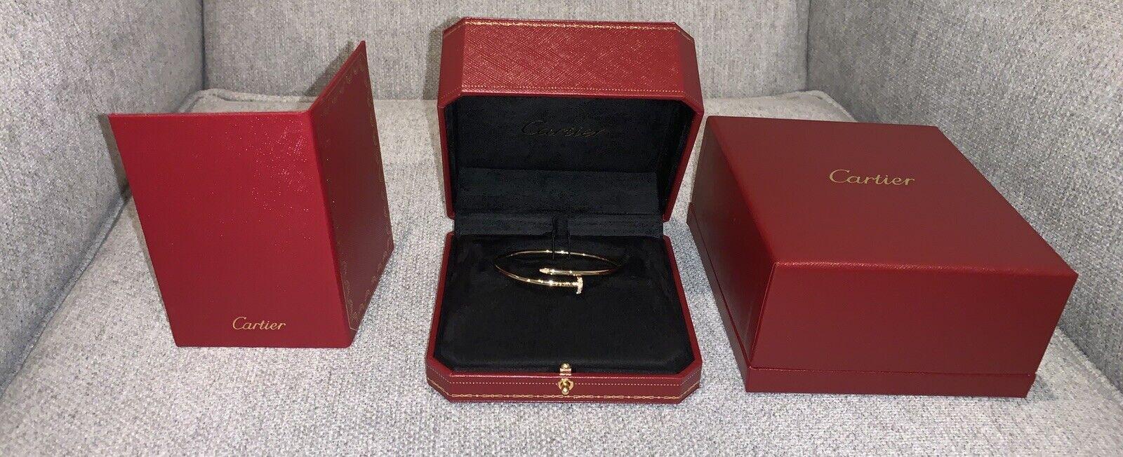 AUTH CARTIER 18K YELLOW GOLD JUSTE UN CLOU SMALL NAIL BRACELET w DIAMONDS SZ 19
