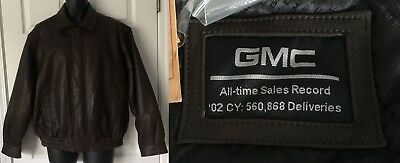NWT Canyon Outback GMC Truck Sales Record Collectible Leather Jacket Brown Sz L