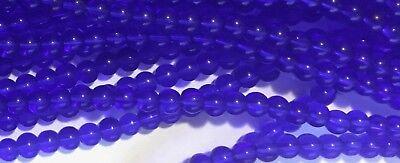 "4mm Round Cobalt Blue Fire Polished Translucent Glass Druk Beads 13"" Strand"