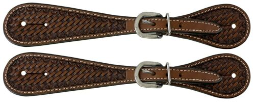 Western Saddle Horse Adult Basketweave Tooled Leather Spur Straps for your Boots