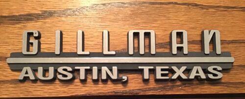 Vintage GILLMAN  ~  Austin, Texas Car Dealer Dealership Plastic Emblem