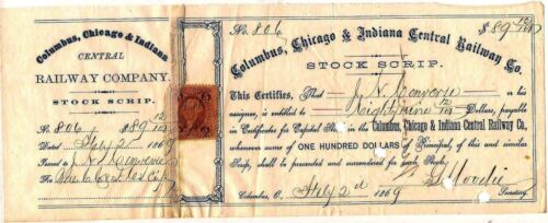 Columbus, Chicago & Indiana Central Railway Co stock certificate dated 1868 -69