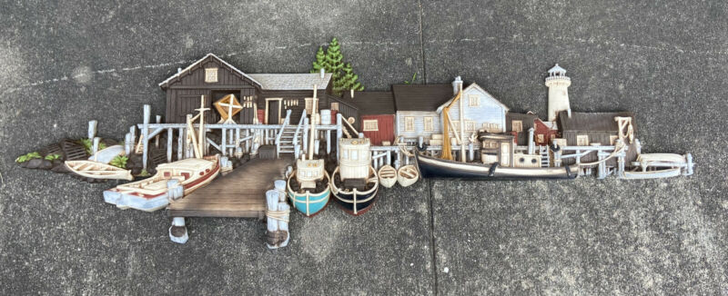 Burwood Products 1504 Wharf Dock Boat Lighthouse Wall Hanging Vintage HUGE 53""