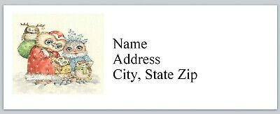 Family Christmas Labels - Personalized Address labels Owl Family Christmas Buy 3 get 1 free (bx 800)
