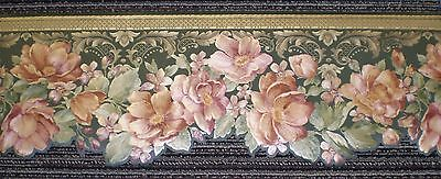 Dark Green Satin Border with Rust & Mauve Flowers by Brewster 975B04637