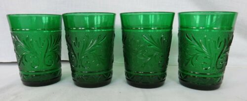 "Set of four (4) Anchor Hocking Sandwich Green 4"" juice glasses or tumblers."