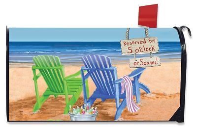 Beach Bum Summer Magnetic Mailbox Cover Beach Chairs Umbrella Standard
