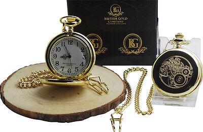 STEAMPUNK GOLD POCKET WATCH in Luxury Case Clock Cogs Wheels Industrial Design