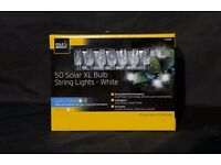 Cole & Bright 50 Solar XL Bulb LED Dual Power String Lights - White