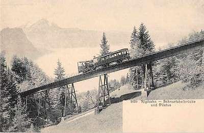 Rigi Switzerland Train Station Trolley Antique Postcard J50528