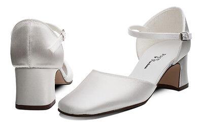 White Satin Bridesmaids Bridal Communion Shoes 12,13,1,2,3,4,5,6,7 ISABELLA H/H