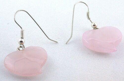 Sterling Silver .925  Natural Rose Quartz Heart Gem Gemstone Earrings EBS1648