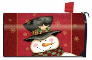 Holly Jolly Snowman Christmas Magnetic Mailbox Cover Holiday Standard