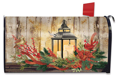 Holiday Lantern Christmas Magnetic Mailbox Cover Rustic Cardinals Standard