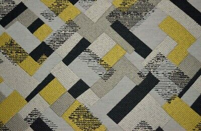 Mod Quilt Saffron Grey Gold Geometric Modern Contemporary Upholstery Fabric