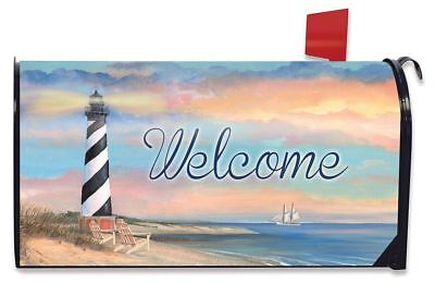 Coastal Lighthouse Summer Magnetic Mailbox Cover Welcome Pier Sailboats