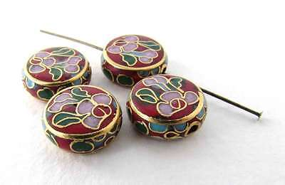 Vintage Cloisonne Beads Enamel Flower Pink Green Red Gold Coin 12mm