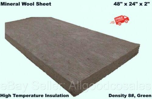 "Mineral Wool Sheet 48"" x 24"" x 2"" High Temperature Insulation, Density 8#, Green"