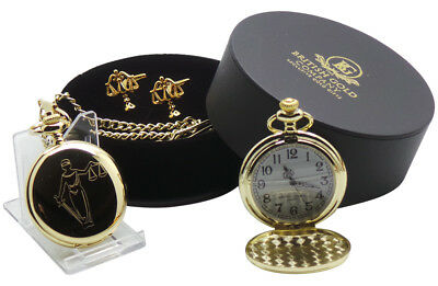 LEGAL Scales of JUSTICE Pocket Watch Gift Set Cufflinks Solicitor Law Graduate