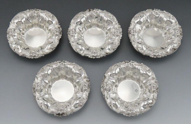 5 Antique Art Nouveau Sterling Silver Meriden Britannia Lily Flower Dishes/Bowls