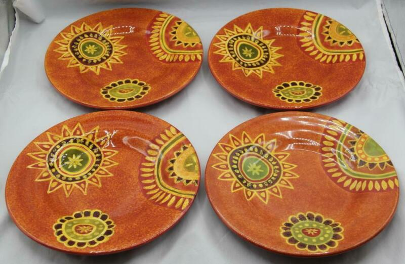 "Tabletops Gallery Rio Handpainted Set of 4 Salad Plates 8 3/4"" No Damage"