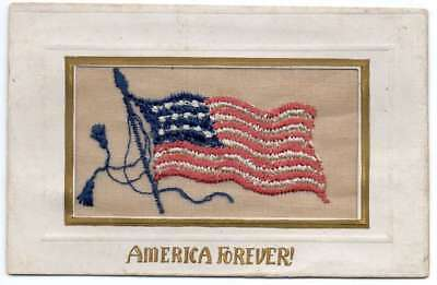 "Patriotic Greetings ""America Forever"" Embroidered Silk Flag Postcard J79918"