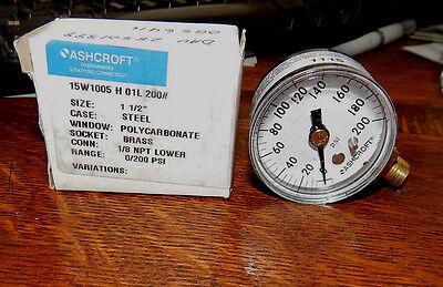 Ashcroft 15w1005h01l-200 Pressure Gauge 0-200 Psi New In Box