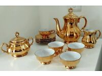 RARE ANTIQUE 1950s GERMAN BAREUTHER BAVARIA GOLD LUSTER TEA/COFFEE SET