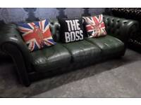 Stunning Chesterfield 3 Seater Vintage Sofa in Green Leather Low Back Couch - UK Delivery