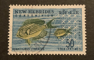 1963 New Hebrides British 50c Green Yellow Blue FU Stamp SG105