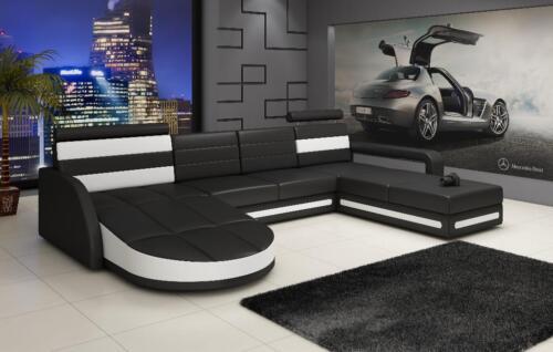 moderne wohnlanschaft u form ledersofa sofa couch. Black Bedroom Furniture Sets. Home Design Ideas