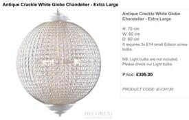 Extra Large Globe Chandelier in Crackle Cream by Decorexi Chiswick RRP £395