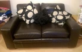 2 x Large 2 Seater Dark Brown Leather Sofas
