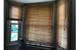 120cm & 60cm width Wooden Venetian Blinds Beech Colour Regular & Bay Windows