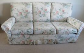 3 SEATER SOFA with loose linen union chintz covers
