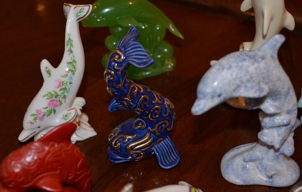 Hand crafted, Limited edition Lenox dolphins with stunning extras