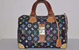 Genuine LOUIS VUITTON Speedy 30 Black Multicolor Monogram Handbag & certificate