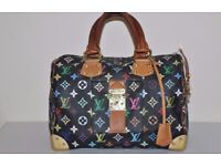 Genuine LOUIS VUITTON Speedy 30 Black Multicolor Monogram Handbag & certificate