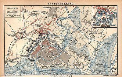 Festungskrieg Belagerung von Straßburg  Deutsch/Franz. Krieg 1871 Landkarte 1874