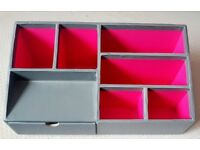 Used Grey & Pink Desk Organiser | Tidy | Stationery | Office | School | Container | Modern