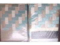 Kaleidoscope woven border King size Duvet cover and woven border eyelet lined curtains (Duck Egg)
