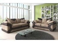 ❤💗❤BLACK/GREY OR BROWN/BEIGE❤❤New Double Padded Dino Jumbo Cord Corner Or 3+2 Sofa in L/R HAND SIDE