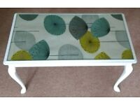 Vintage Upcycled Queen Anne style glass topped coffee table in white retro sanderson print