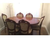 Vintage French Dinning table x 6 chairs