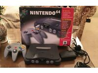 N64 Nintendo 64 Pal COMPUTER CONSOLE with Box and 4 games