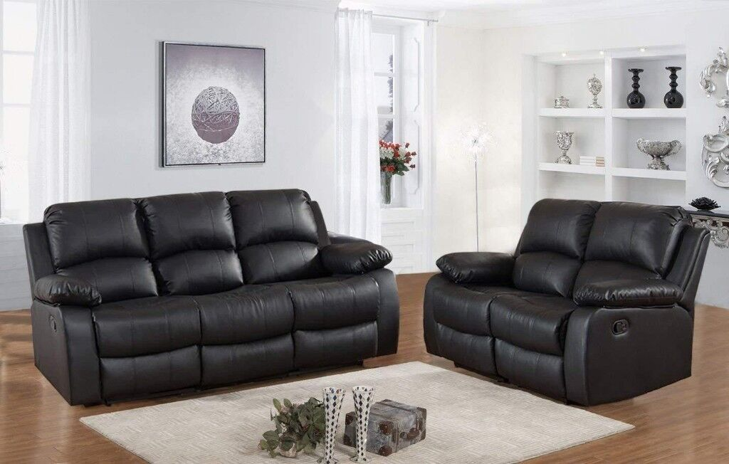 Valencia 3 2 Seater Leather Recliner Sofas Black Sofa