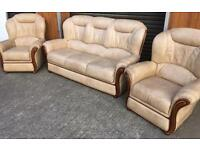 Cream leather suite 3,1,1 FREE DELIVERY within a 10 mile radius of BELFAST! EXCELLENT CONDITION!